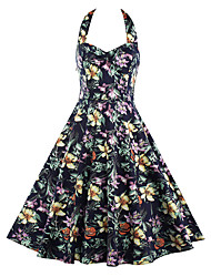 Women's Party Vintage Sheath Dress,Floral Halter Knee-length Sleeveless Cotton Polyester Blue Yellow Summer High Rise
