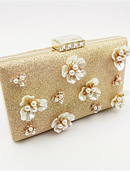 Women Bags PU Polyester Evening Bag Imitation Pearl Crystal/ Rhinestone for Wedding Event/Party Formal All Seasons Gold