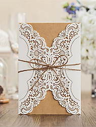 Double Gate-Fold Wedding Invitations 50-Invitation Cards Vintage Style Card Paper Ribbons