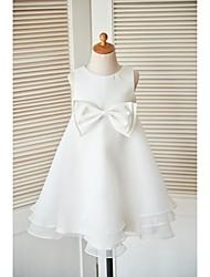 a-line платье для девушки с длинным рукавом - манжета без рукавов с шеей с бантом (-ой) кнопки от thstylee