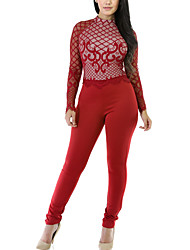Women's Skinny JumpsuitsCasual/Daily / Club Street chic Solid Hot Fix Rhinestone Crew Neck Long Sleeve Mid Rise Micro-elastic Spring / Fall