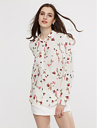 cheap -Women's Going out Cotton Shirt Print Shirt Collar
