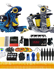 Starter Tattoo Kit 2 cast iron machine liner & shader LCD power supply Tattoo Ink 2 x disposable grip Complete Kit