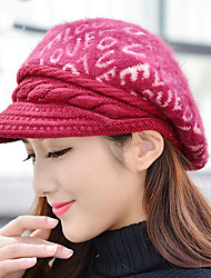 cheap -Women 's Winter LOVE Letter Printing Rabbit Hair Pattern Baseball Warm Berets Hat