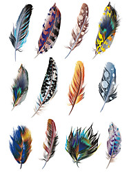 cheap -1.3*2.7in Cover scratches stickers Colorful feathers stickers for car (12pcs)01