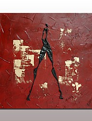 Hand-Painted Abstract Abstract Portrait HorizontalModern European Style One Panel Oil Painting For Home Decoration Red Textured Human Figure Oil