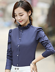 cheap -Women's Formal Work Casual Spring Fall Shirt,Solid Stand Long Sleeves Cotton Opaque