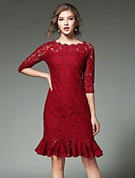 Women's Going out Casual/Daily Simple Street chic Sheath Dress,Solid Lace Boat Neck Knee-length ¾ Sleeve Cotton Red Black Spring FallMid