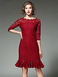 Gaine Robe Femme Sortie Décontracté / Quotidien simple Chic de Rue,Couleur Pleine Bateau Mi-long Manches ¾ Rouge Noir CotonPrintemps