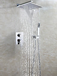 Chrome Brass Bathroom Shower Faucet Set / Square Rain And Waterfall Shower Head / Easy-mount Box Mixer Valve / Handheld Shower Included