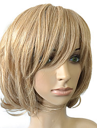 Top Quality Golden Blonde Wig Short Bob Synthetic Wigs Curly Wavy Capless Wig