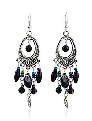 abordables -Cristal cuelga los pendientes - Perla Negro Para Fiesta / Casual