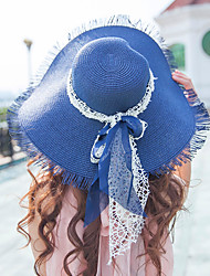 cheap -Women's Fashion Vintage Wide Large Brim Floppy Straw Hat Sun Hat Beach Cap Casual Holiday Outdoors Summer