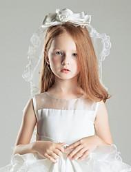 abordables -velos de comunión de velo de novia de dos niveles con accesorios de boda de tul de bordado