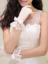 Wrist Length Fingertips Glove Nylon Bridal Gloves Party/ Evening Gloves Summer Fall Winter Pearls Bow lace