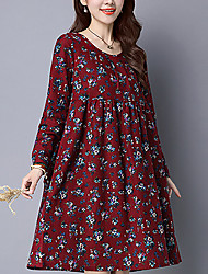 HOT!Women's Casual/Daily Vintage Simple Loose DressFloral Round Neck Knee-length Long Sleeve Cotton Linen Blue Red Beige Spring Fall Mid Rise
