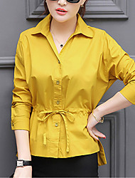 Women's Going out Formal Work Simple Cute Street chic Spring Fall Shirt,Solid Shirt Collar Long Sleeve White Orange Yellow Others