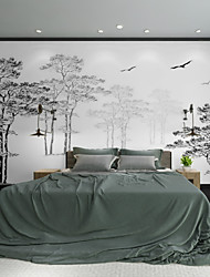 Art Deco Wallpaper For Home Wall Covering Canvas Adhesive Required Mural Simple Tree Bird Landscape Art XXXL(448*280cm)