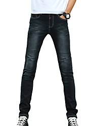 cheap -Men's Mid Rise Micro-elastic Slim Jeans Pants, Casual Solid Cotton Polyester All Seasons