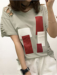Women's Cut Out Party Street chic Fall/Winter T-shirt,Solid High Neck Long Sleeve Blue/Black/Brown/Green Polyester Medium