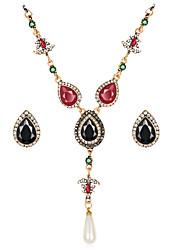 abordables -Juego de Joyas Lujo Vintage Bohemio Fiesta Ocasión especial Piedras preciosas sintéticas Resina Brillante Chapado en Oro Diamante