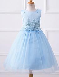 un vestito dalla ragazza di fiore della lunghezza del ginocchio a-line - collo di cristallo sleeveless chiffon con bordare da likestar