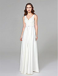 cheap -Sheath / Column V-neck Floor Length Satin Wedding Dress with Beading Appliques Button by LAN TING BRIDE®