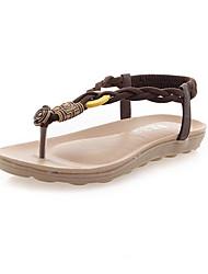Women's Sandals Slingback PU Summer Casual Outdoor Office & Career Dress Slingback Braided Strap Low Heel White Black Light Brown Flat