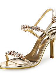 preiswerte -Damen-Sandalen-Hochzeit Kleid Party & Festivität-Kunststoff Glanz-Stöckelabsatz-Club-Schuhe-Gold