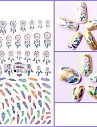 1pcs 3D Nail Stickers Colorful&Beautiful Feather Dream-net Decoration Lovely Expreession Design Nail Art Sticker Nail Beauty Design F051-059