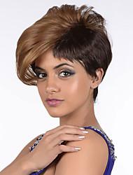 abordables -Pelucas sintéticas Recto Corte asimétrico / Con flequillo Pelo sintético Marrón Peluca Mujer Corta Sin Tapa