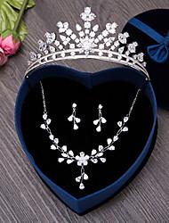 Bijoux 1 Collier 1 Paire de Boucles d'Oreille Bijoux de Cheveux Zircon cubique Mariage Soirée Quotidien Zircon 4pcs ArgentCadeaux de