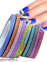 1set 3mm 12 Mixed Colors  Nail Art Glitter Tape Rolls DIY Sparkling Striping Tape Line Manicure Edge Beauty