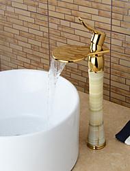 Moderne Set de centre Jet pluie Soupape céramique Mitigeur un trou Ti-PVD , Robinet lavabo