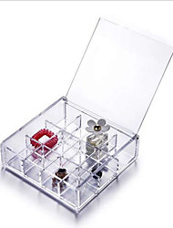 12 Compartments Acrylic Cosmetic Ornaments Jewelry Storage Box Case Bead Rings Jewelry Display Organizer
