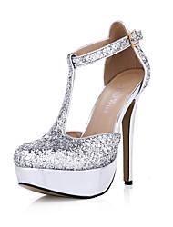 baratos -Feminino-Sandálias-Conforto Light Up Shoes-Salto Agulha-Prateado-Sintético-Casamento Social Festas & Noite