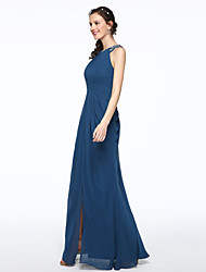 cheap -Sheath / Column Jewel Neck Floor Length Chiffon Bridesmaid Dress with Beading / Pleats by LAN TING BRIDE®