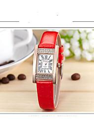 abordables -Mujer Cuarzo Reloj de Pulsera Gran venta Piel Banda Casual Reloj de diamantes simulado Moda Negro Blanco Azul Rojo Gris Morado