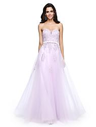 baratos -Linha A Decote Princesa Longo Tule Baile de Formatura / Evento Formal Vestido com Miçangas / Apliques / Faixa / Fita de TS Couture®