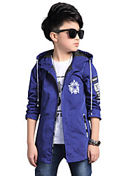 cheap -Boys' Daily Trench Coat, Polyester Spring Fall All Seasons Long Sleeves Floral Blue Black