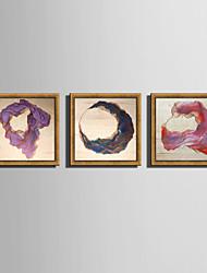 Astratto Paesaggio Tele con cornice Set con cornice Decorazioni da parete,PVC Materiale Oro Senza passepartout con cornice For