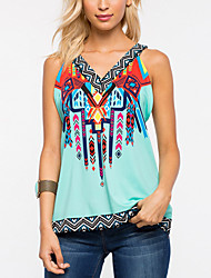 Women Going out Casual/Daily Vintage Boho National Style All Match Summer Fall Tank TopPrint V Neck Sleeveless Medium