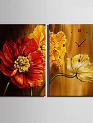 Modern/Zeitgenössisch Blumen/Botanik Wanduhr,Rechteckig Leinwand35X50cm(14inchx20inch)x2pcs/ 40 x 60cm(16inchx24inch)x2pcs/ 50 x