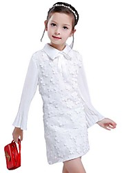 Girl's Cotton Fashion Long Sleeve Lapel Flowers Hollow Out The a-Line Skirt  Lapel  Lace Embroidery Flowers Dress