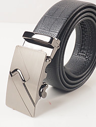 Men's leisure fashion black PVC grain of curvature of the automatic cingulate body is about 3.6 cm wide
