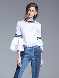 FRMZ Women's Ruffle/Flare Sleeve Going out Simple Spring Summer ShirtSolid Round Neck Long Sleeve White Cotton