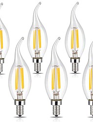 cheap -6pcs 3W 400 lm E12 LED Filament Bulbs CA35 4 leds COB Dimmable Decorative Warm White Cold White 110-120