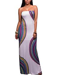 Women's Beach Sexy Boho Print Backless Strapless Maxi Sleeveless Mid Rise Stretchy Sheath Dress