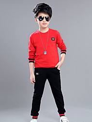 Boy's Fashion Casual/Daily Sports School Patchwork Sets Cotton Spring/Fall Long Sleeve Pants 2 Piece Clothing Set Children's Garments