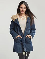 Feminino Jaquetas Jeans Casual Simples Outono Inverno, Sólido Azul Outros Com Capuz-Manga Longa Média